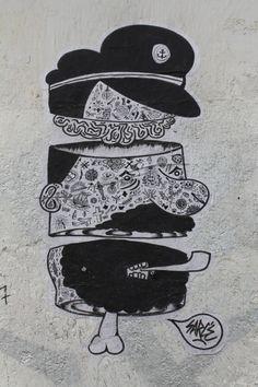 Paste up by Sarcé in Paris 13th district.   Collage de Sarcé dans le 13ème arrondissement de Paris.