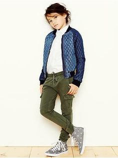 GAP quilted bomber jacket, convertible oxford shirt, and cargo knit pants