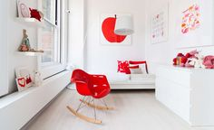 Modern White and Red Big Kid Room
