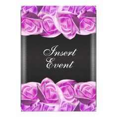 Pink black anniversary elegant rose personalized invitations
