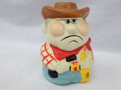 VintageGrumpy Old Cowboy Piggy Bank by vintapod on Etsy, $12.75