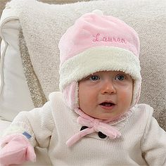 This is just too cute! It's a Personalized Winter Baby Hat and it comes in pink and blue at PersonalizationMall! They even have cute matching mittens! Great baby gift idea for a winter baby! #Winter #Baby #Christmas
