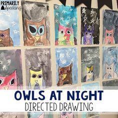 Owls at Night directed drawing project.FREE directions in post! First Grade Art, 2nd Grade Art, Grade 2, Owls Kindergarten, Owl Classroom, Preschool Classroom, Classroom Organization, Classroom Ideas, Fall Drawings