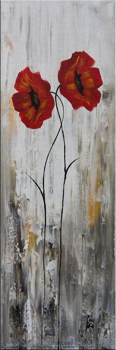 LARGE Abstract Modern Poppies Painting Original Floral Art by Catalin 50x30. $239.00, via Etsy. by colette