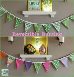 Reversible St Patricks Day Easter Spring Fabric Bunting Banner by LooDeLoop, $35.00