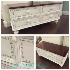 Beautiful Lane chest rescued, added feet & a custom paint job.  Check out more projects at The Finished Project on Facebook & Instagram.