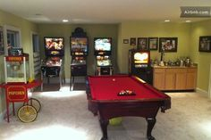 Located down stairs our Entertainment room is AWESOME! Popcorn Machine is self explanatory. Pinballs are complimentary and require no money....