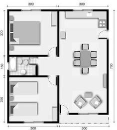 5 plano de casa 2 dormitorios Little House Plans, Small Modern House Plans, Unique House Plans, Small House Floor Plans, House Layout Plans, House Layouts, Small Apartment Plans, One Bedroom House Plans, Modern Bungalow House
