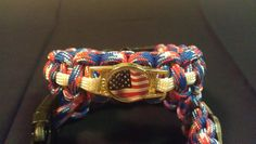 Red white and blue digital pattern paracord bracelet with American flag pendant Etsy.com