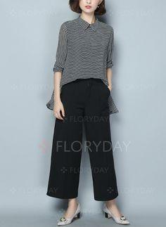 Streep Casual Katoen Kraag Lange mouw Overhemd (1049505) @ floryday.com