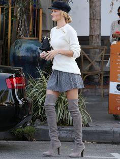 rosie huntington whiteley otk boots cinza