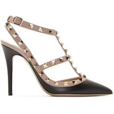 Valentino Black and Pink Rockstud Cage Pumps (12,630 MXN) ❤ liked on Polyvore featuring shoes, pumps, ankle strap high heel pumps, ankle strap pumps, high heels stilettos, pointed toe ankle strap pumps and leather sole shoes
