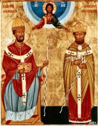 "(L) POPE GREGORY I (540 - 604) and (R) AUGUSTINE OF CANTERBURY (530 - 604).  In 595, Gregory consecrated Augustine as a missionary to England, where the aged Benedictine monk spent the rest of his days, seeing success in his mission when King Æthelbert of Kent was converted in 597.  As a result, Augustine is remembered as the ""Apostle to the English"". www.churchhistorytimelines.com"
