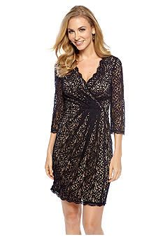 Adrianna Papell Three-Quarter Sleeve Allover Lace Dress