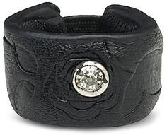 Black Floral Leaf - Leather Ring