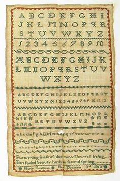 This sampler was made by Hariet Smallman Boyle, County Roscommon. Dated 3rd December 1810.  It has green embroidered alphabets, numbers and text with a red border. The inscription says 'Hariet Smallman, December 3d 1810'.