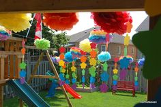 Rainbow birthday party decorations reminded me of you haha @Kristen Ellis Silcock