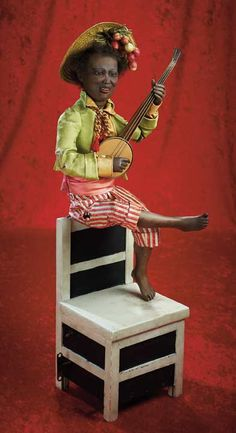 "Many Wonderful Things : 111 French Musical Automaton ""Banjo Player Seated on Chair Back"" by Gustav Vichy"