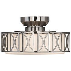 New 4 Lamp Drum Shade Crystal Flush Mount Ceiling Light
