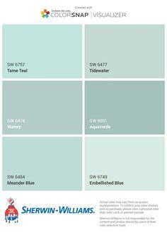 Coastal Paint Colors, Bathroom Paint Colors, Interior Paint Colors, Paint Colors For Home, Wall Colors, House Colors, Aqua Paint Colors, Coastal Color Palettes, Best Bathroom Colors