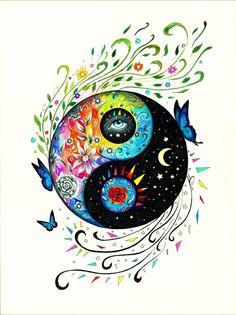 Choose your yen-yang Arte Yin Yang, Ying Y Yang, Yin Yang Art, Yin And Yang, Mandala Art, Yin Yang Tattoos, Yen Yang, Art Hippie, Rock Art