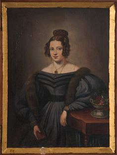 ENGLISH SCHOOL,  CIRCA 1830 Portrait of a lady in a black dress with fur stall oil on board