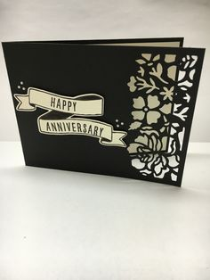 Stampin' Up! Detailed Floral Thinlits, Bunch of Banners Framelits, Banners For You Stamp set, Anniversary card