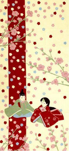 Japanese Tenugui Cotton Fabric, Girls' Festival Doll, Princess, Prince & Peach Blossom, Hand Dyed Fabric, Wall Decor, Traditional Art, JapanLovelyCrafts