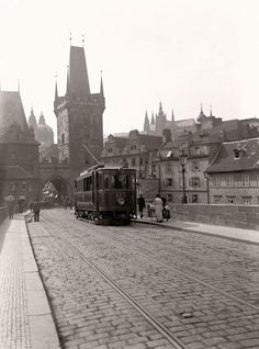 A tram crosses Prague's famous Charles Bridge (Karlův most) in this photo by Jan Srp from Not something you will see today. Old Pictures, Old Photos, Prague Czech Republic, Medieval Town, Historical Architecture, Beautiful Places, Around The Worlds, Street View, City