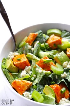 Buffalo Chicken Salad -- made with yummy buffalo chicken, fresh greens, avocado, Greek yogurt dressing, and ready to go in 20 minutes!   gimmesomeoven.com #salad