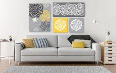 Composição 4 telas Cinza /amarela