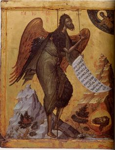 *Icon: John the Baptist Angel of the Desert. Athos, monastery of Pantokrator Size: 90 x 80.5 cm