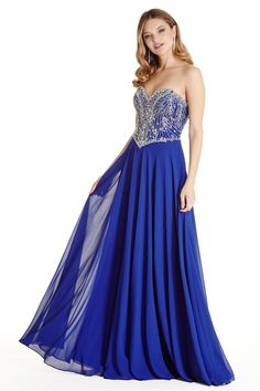 A-Line Long Prom and Evening Gown features Floor Length, Solid Color Flowing Chiffon Skirt with Sparkling Beading and Gemstones Embellished Corset Bodice with Sweetheart and Strapless Neckline, Low Back with Zipper Closure.