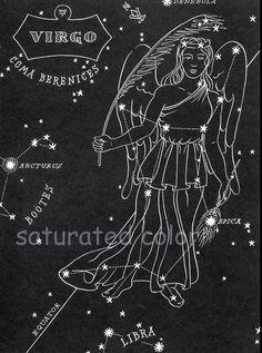 Virgo Night Sky Star Chart Map - Zodiac Constellation Stars from 1948 Astronomy Textbook Constellation Quilt, Virgo Constellation Tattoo, Virgo Symbol, Zodiac Art, Virgo Zodiac, Night Sky Stars, Night Skies, Cosmos, Virgo Star