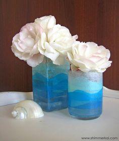 Mod Podge mini ocean vases