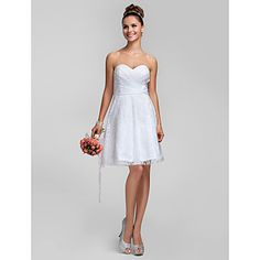 A-line Princess Sweetheart Knee-length Lace Bridesmaid Dress – CAD $ 111.90