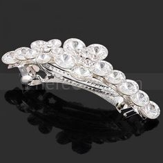 transparent crystal flower silver hairpin