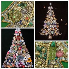 christmas tree made from vintage jewelry