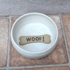 Small Dog Feeding Bowl Woof Wheel Thrown Stoneware Pottery by Caractacus Pots on Gourmly