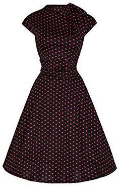ea470fc1a955 Lindy Bop 'Dottie' Glamorous Vintage 50's Style Polka Dot Sassy Tea Dress  (20, Red Black Polka): Amazon.co.uk: Clothing