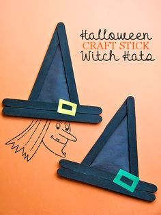 Pinterest: @MagicAndCats ☾ Halloween Craft Stick Witch Hats Halloween Craft Decoration