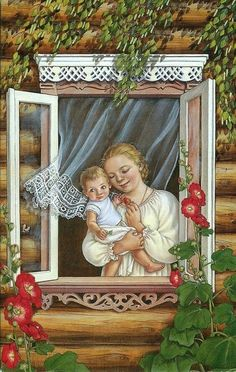 Mother and child. Art And Illustration, Russian Folk Art, Russian Painting, Mothers Love, Mother And Child, Retro, Vintage Prints, Illustrators, Art Drawings
