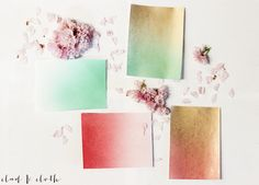 Lovely DIY Ombre Stationery- pick your wedding colors and create your own thank-you notes. Gotta love spray paint.