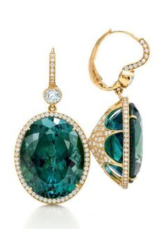 GABRIELLE'S AMAZING FANTASY CLOSET | Oval Emerald Drop Earrings set in 18k Yellow Gold, surmounted by an Accent Diamond, Halo and Diamond Pave Back.