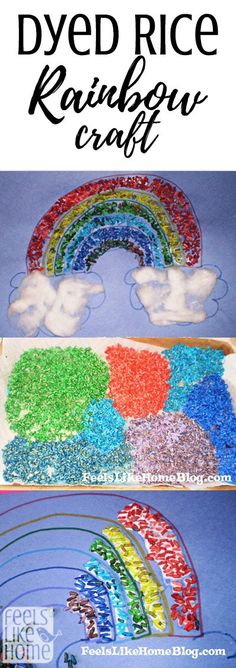How to make a mosaic rainbow using Feels Like Home ™ colored rice, Fun Crafts For Kids, Art For Kids, Arts And Crafts, Rainbow Crafts Preschool, Girl Scout Activities, Senior Activities, Craft Activities, Rainbow Rice, Kids Rainbow