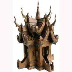 "Guardian Thai Spirit House Vihara Temple Wood Carved Sculpture 24"" x 16"" New | eBay"