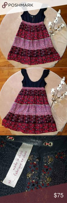Free People Dress This dress is super cute with boho vibes. The skirt part is mostly silk. Hook closures down the front over the bust alongside beadwork. Free People brand size 2.  Bundle and save! Don't be afraid to make an offer or comment any questions. Thanks for checking out my closet! Free People Dresses