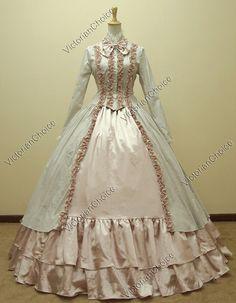 Renaissance Gothic Lolita Cotton Satin Dress Ball Gown Reenactment