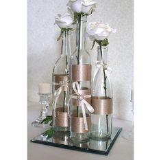 SET(3)- Decorated Wine Bottle Centerpiece Champagne, Ivory & Pearl Jewels. Wine Bottle Decor. Wedding Table Centerpieces. Centerpiece Ideas....