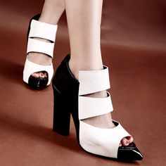 Back Zip White And Black Chic Patchwork Sandals